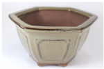 Bonsai Pot, Hexagonal, 11cm, Brown (Light), Glazed